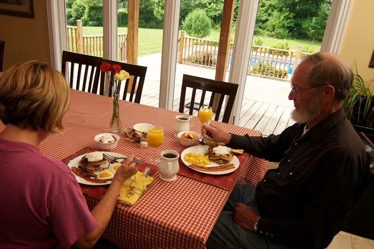 Full country breakfast at-Southern Grace Bed and Breakfast, Sip 'n' stay Bourbon Country