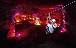 Zipline to Hell, one of six ziplines in Louisville Mega Cavern's zipline course. Photo: Louisville Mega Cavern.
