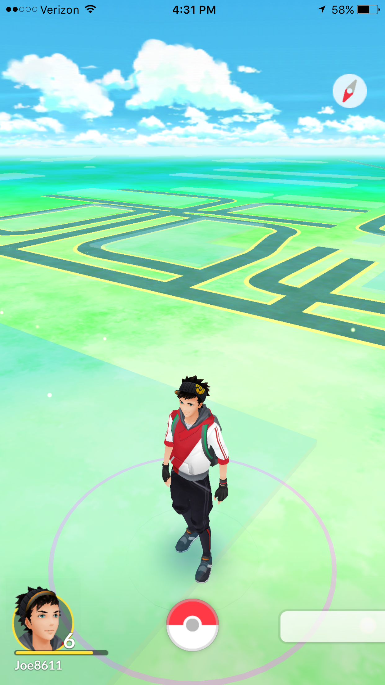 view of the map in Pokemon Go!