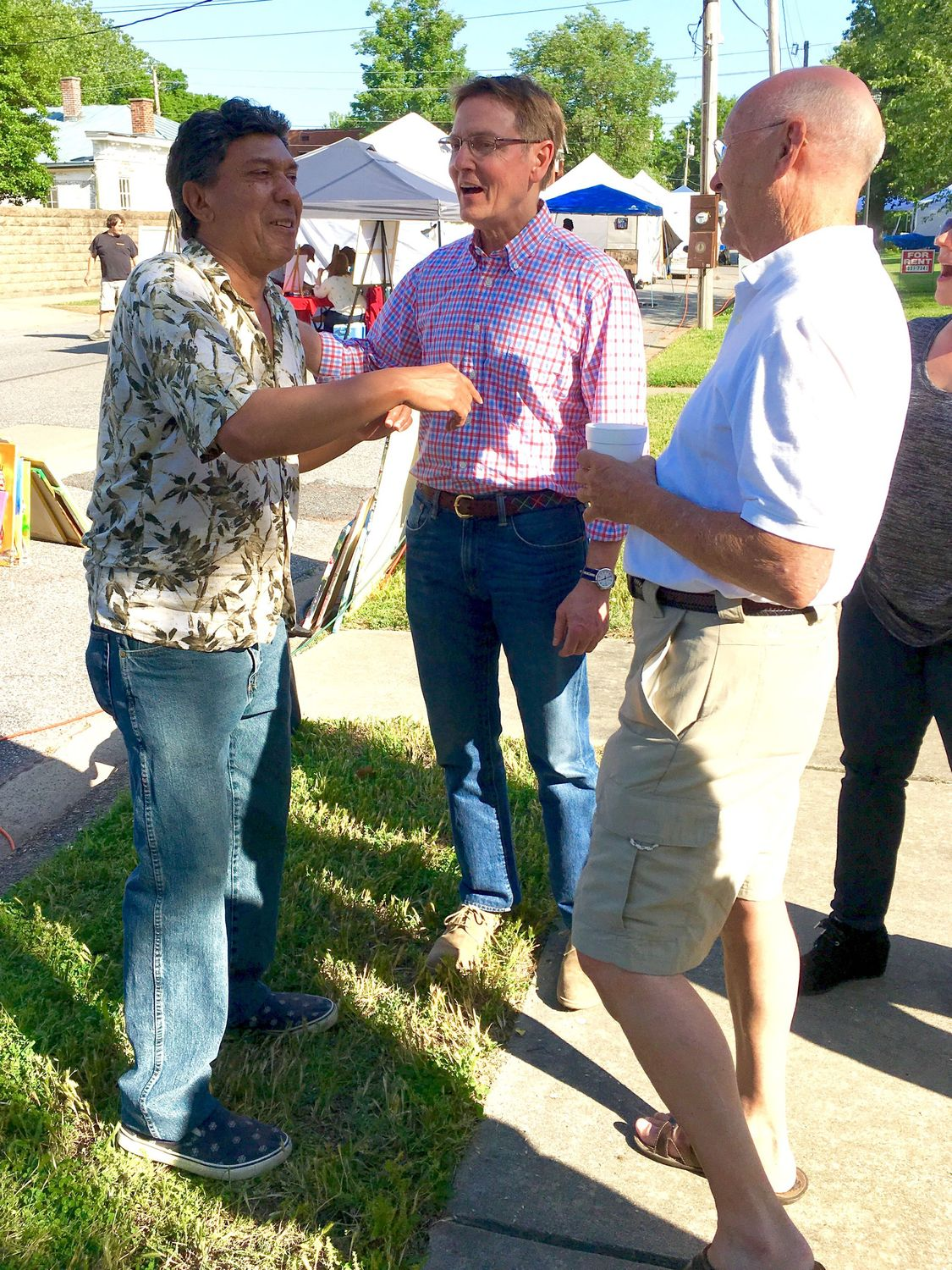 Enrique Gonzalez, left, and U.S. Senate candidate Jim Gray (D) at the Lower Town Arts & Music Festival. Photo: Cathy Lindsey