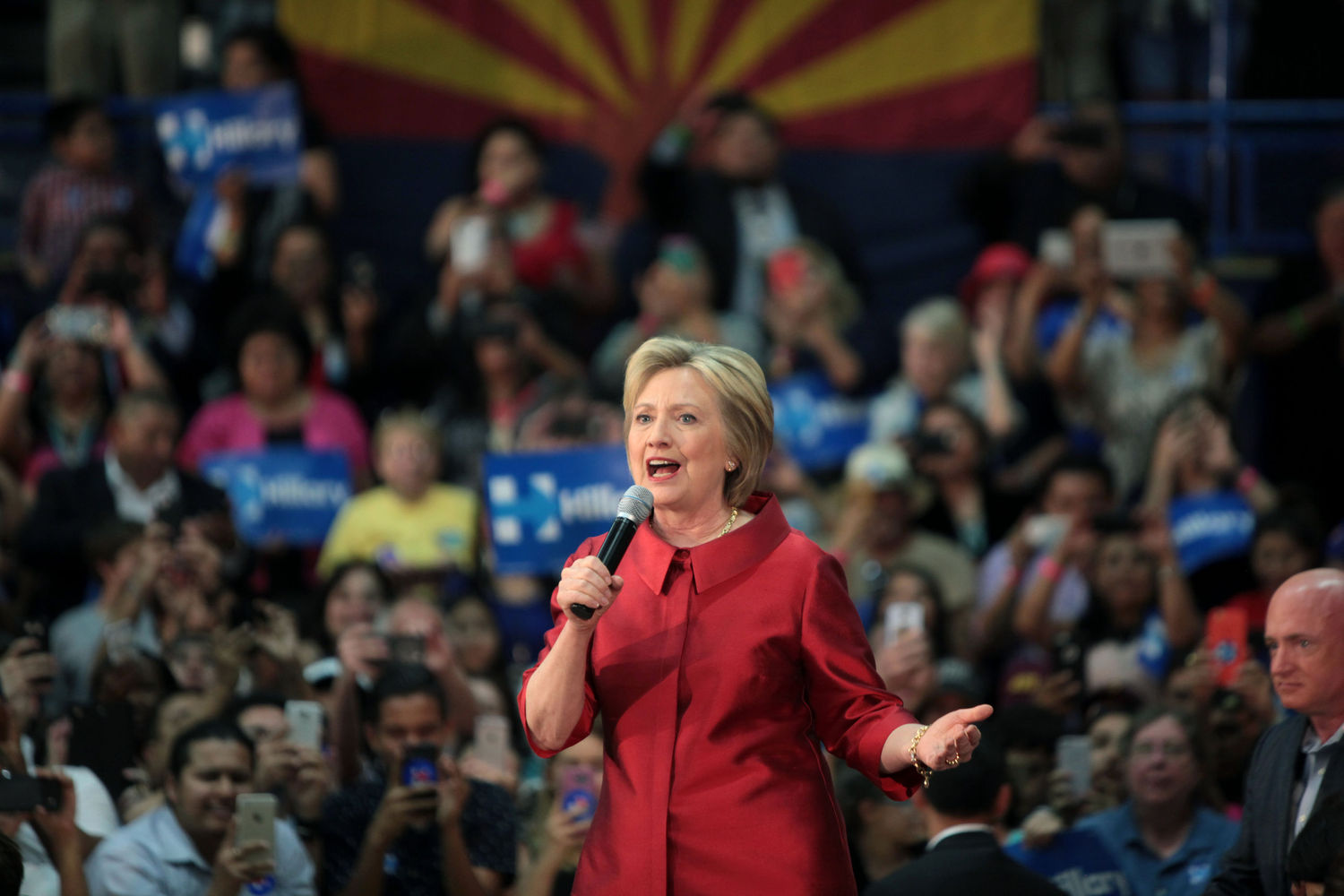 Democratic nominee Hillary Clinton at a March 21, 2016 campaign rally in Phoenix, Arizona. Photo: Gage Skidmore