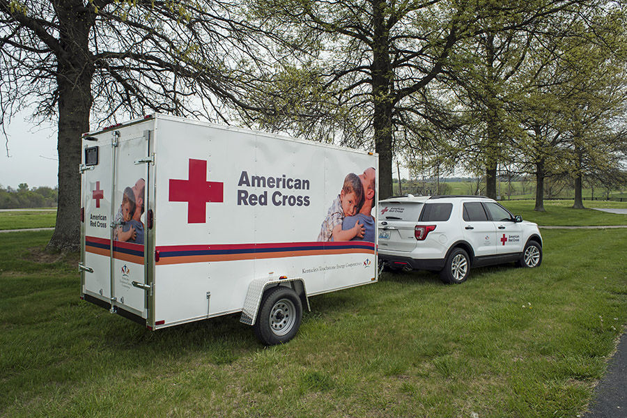 New American Red Cross emergency response vehicle and trailer