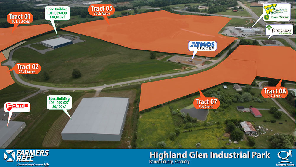 Farmers RECC, Glasgow, worked with Qk4 Inc. to map Highland Glen Industrial Park in Barren County with drones as part of PowerVision, an innovative project by East Kentucky Power Cooperative that provides video and data of economic-development sites across the state in EKPC's 16 electric cooperative areas. Illustration courtesy EKPC