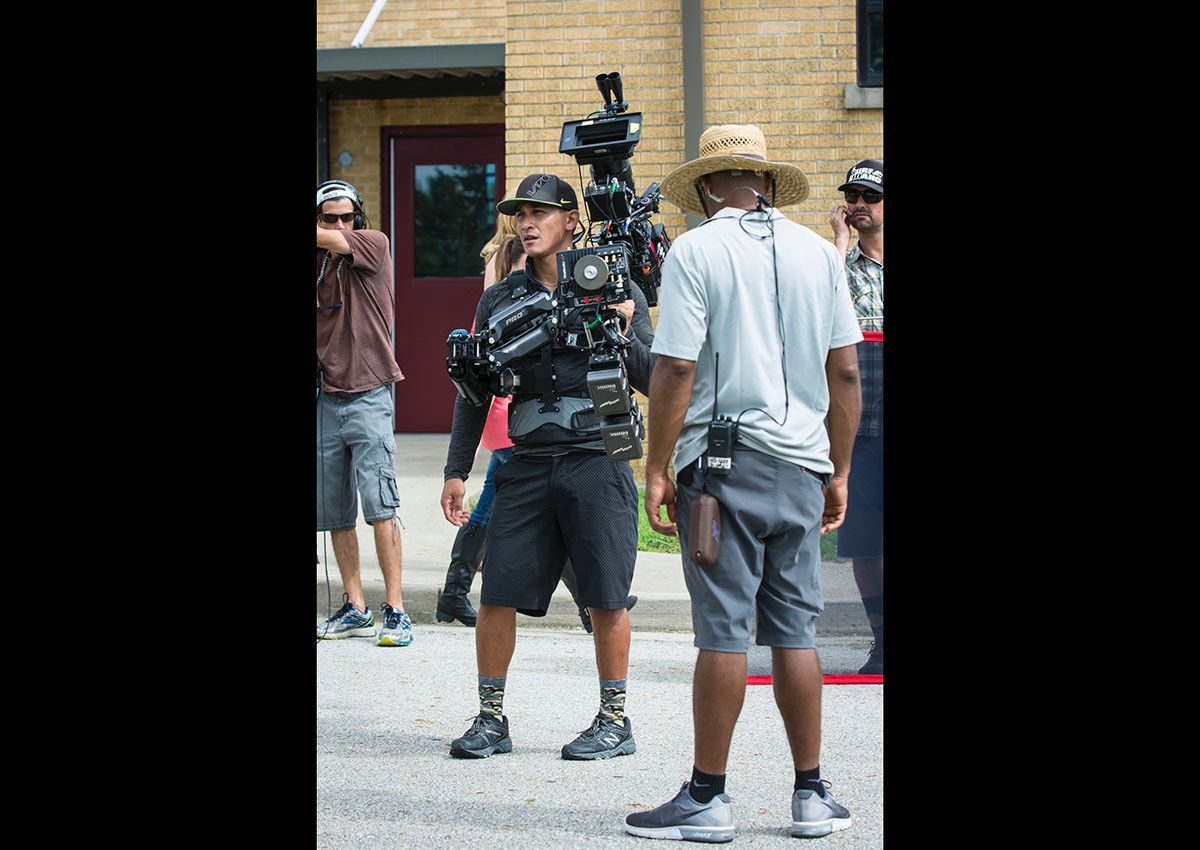 Steadicam operator Joseph B. Hernandez, Los Angeles, works on location in Marion County, near Springfield, for the film Tragedy Girls