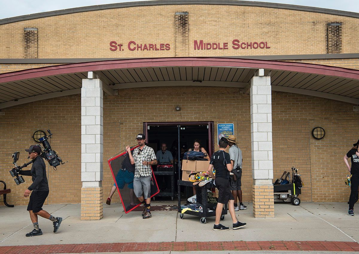 """Camera crews are kept busy setting up equipment at St. Charles Middle School while filming """"Tragedy Girls."""""""