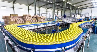 River Ridge Commerce Center newly produced yellow beverages in the factory